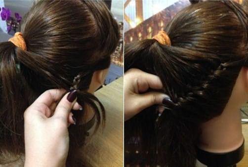 Плетение косы с добавлением в новый виток прядок из хвоста