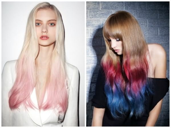 Цветное омбре или dip-dye вошло в моду в 2009 году и с тех пор не сходит с модного Олимпа