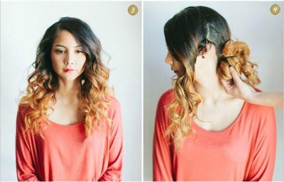 Создание прически с кудрями на бок и косой: шаг 3-4
