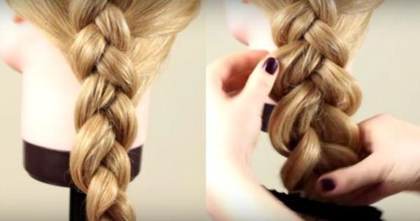 Плетение французской косы: шаг 6