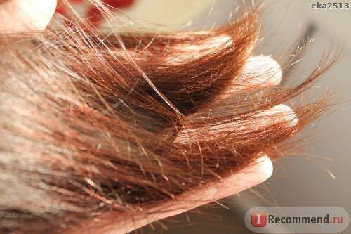 Волосы выпрямлены утюгом, концы начали возвращаться к своему состоянию.