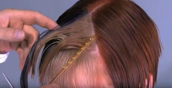 Отделение верхней части челки для стрижки