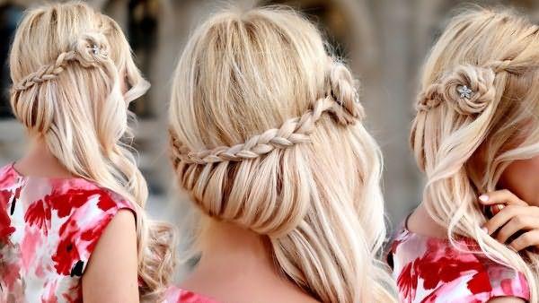 Прикольные прически на средние волосы в стиле бохо можно получить всего лишь из двух кос, аккуратно свернутых в цветок и украшенных небольшой шпилькой