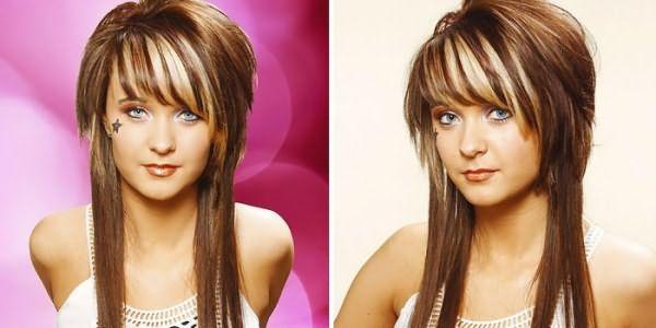 Фото девушки с градуированной стрижкой на длинных волосах