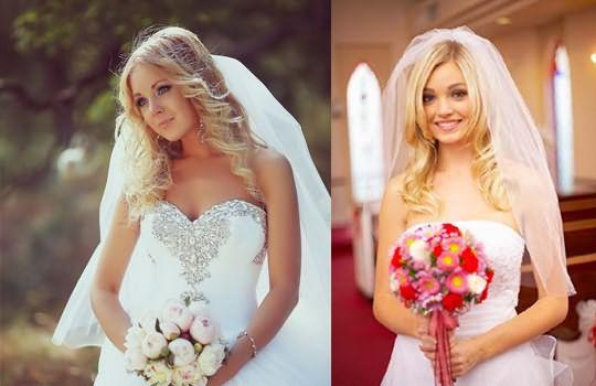 Различные варианты фаты и укладки могут существенно менять образ невесты