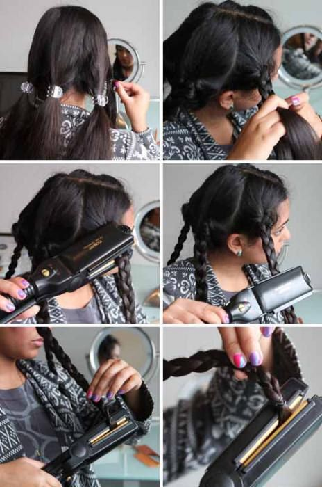 крутить волосы утюжком фото