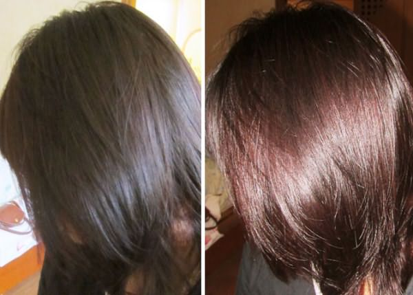 Цвет спелой вишни при окрашивании черных волос смесью из хенны и басмы