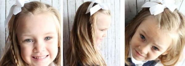 Волосы с косой на бок для школьниц