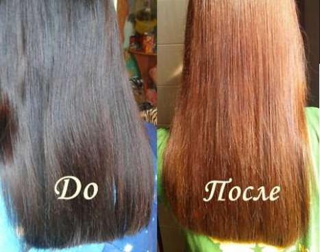 Цвет окрашенных волос до и после смывки