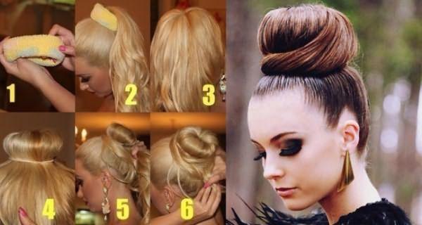 Создание гладкой гульки на длинные волосы