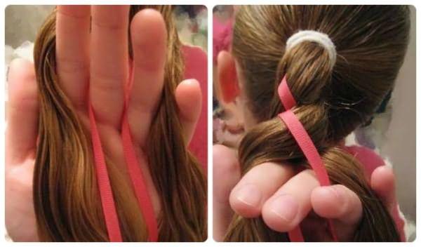 Плетение косички с лентой: шаг 3-4