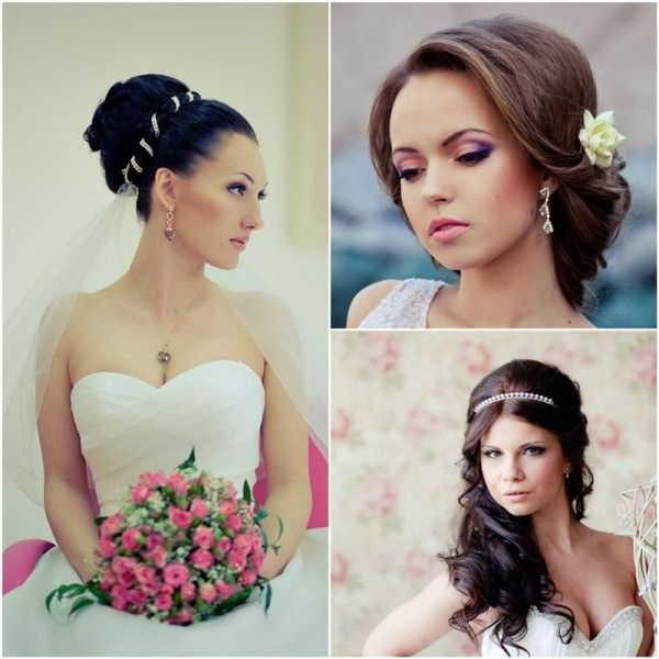 Простые, но элегантные свадебные прически на темные волосы для круглого лица
