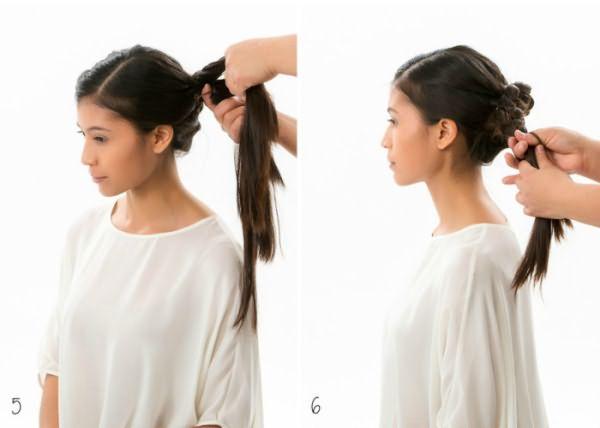 Как сделать гульку из закрученной косы: шаг 5-6
