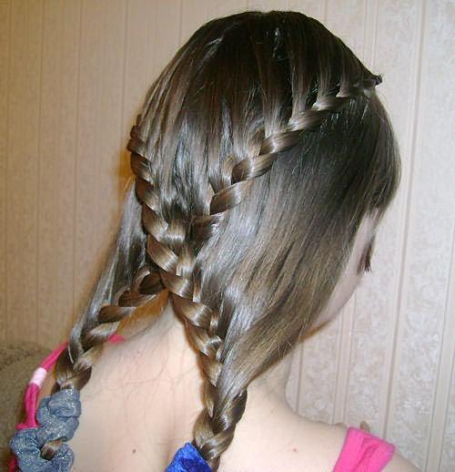 Создание двух перекрещенных кос: шаг 3