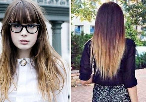 На фото: окрашенные концы волос