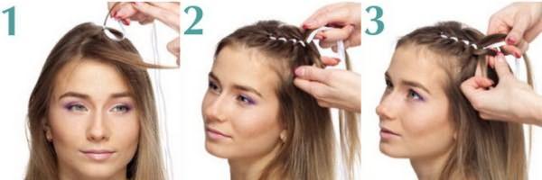 "Как заплести ""косу-цветок"": шаг 1-3"
