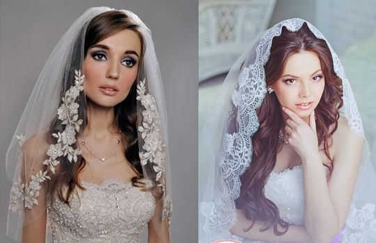 На фото – нежные и очаровательные невесты с фатой