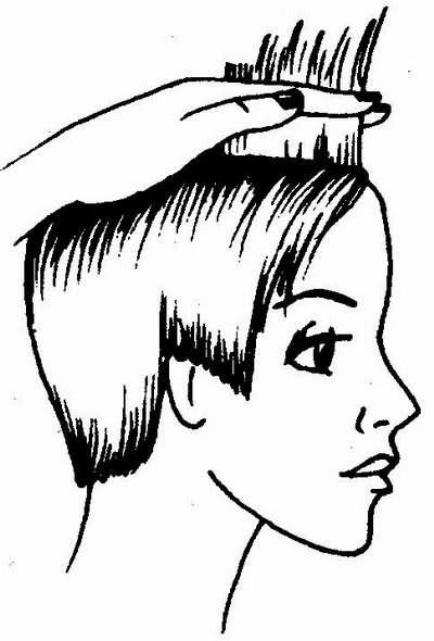 стрижка волос фронтальной зоны по контрольной пряди