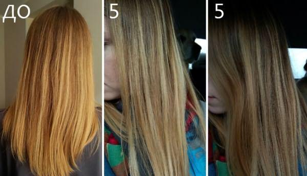 Фото до и после 5 использований шампуня C:ENKO Silver «Серебристый»