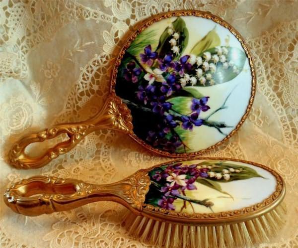 Золоченая бронза Ручная роспись фарфора Лилия долины рук Фиалки набор кистей зеркало | eBay