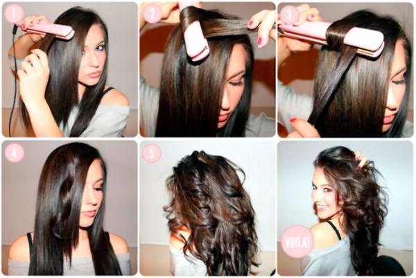 Процесс завивки волос утюжком