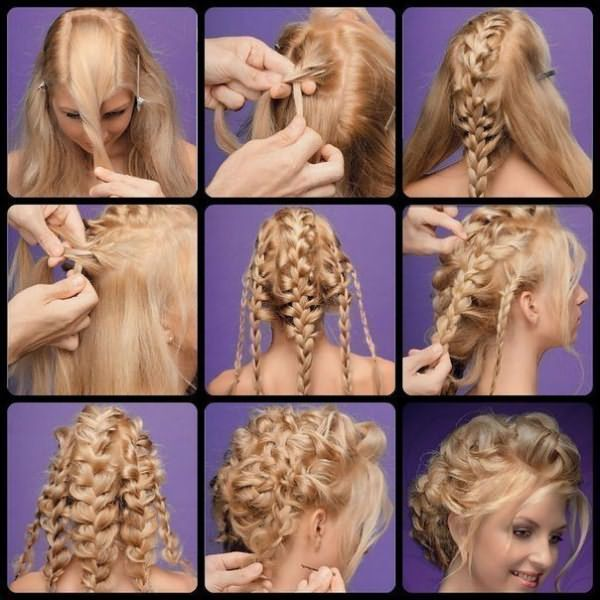 Схемы причесок на длинные волосы из кос разного размера