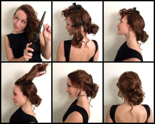Создание низкого пучка из завитых волос