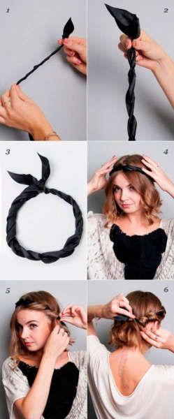 Подвязку можно подбирать к повседневной одежде, что позволит носить такую прическу хоть каждый день.