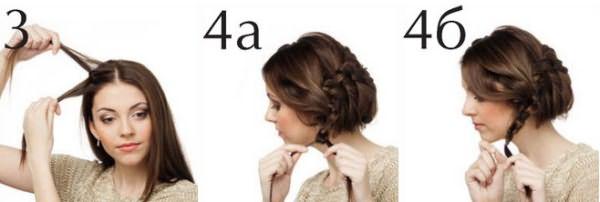 Процесс завязывания волос по кругу
