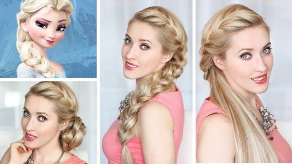 Варианты укладки косы из длинных волос: с пучком, набок, с хвостом.