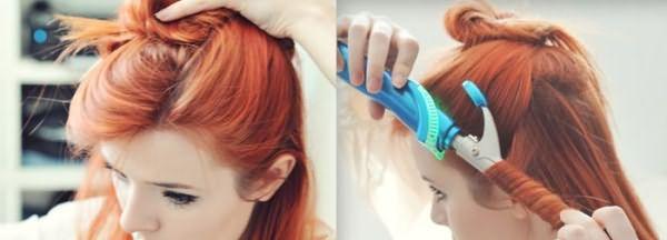 Девушка делает прическу с кудрями на средние волосы