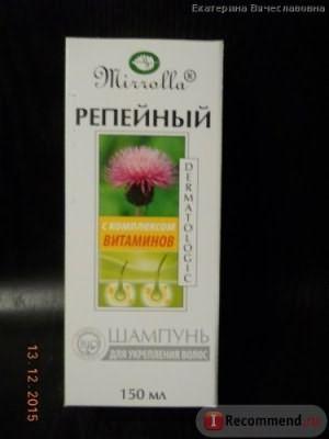 Шампунь Мирролла Репейный для укрепления волос с витаминами фото