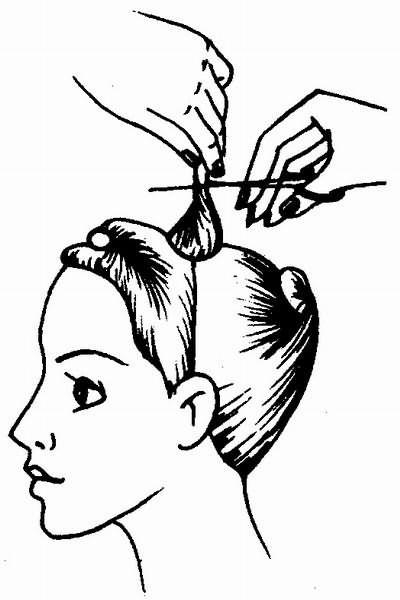 срезание волос на наивысшей точке головы