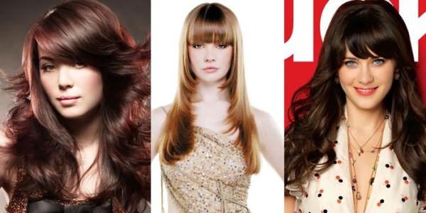 Девушки с каскадной стрижкой на длинных волосах