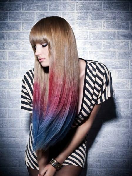 Креативное омбре на прямых волосах