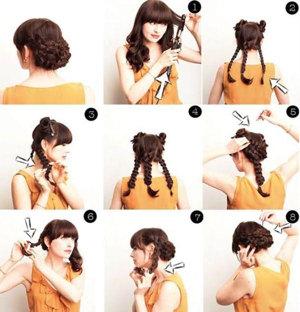 Как сделать прическу на волосы до плеч – корзинка из кос