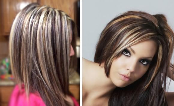 Волосы с тонированием отдельных осветленных прядей