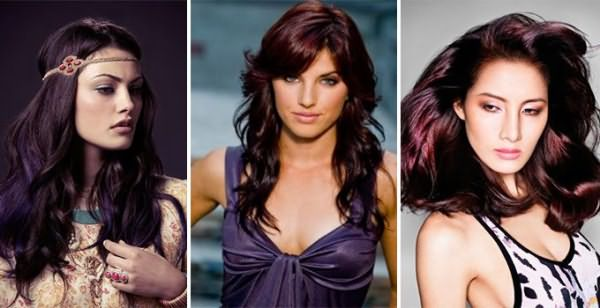Фиолетово-коричневый цвет волос