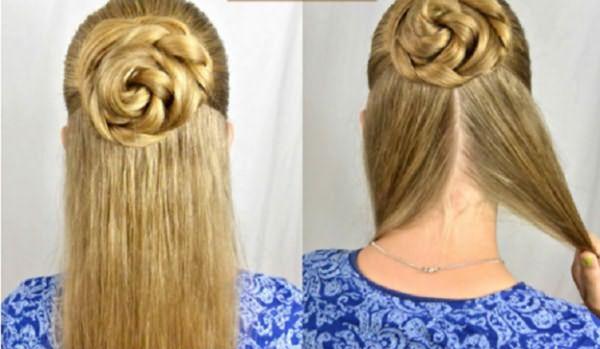 Скрученный пучок и волосы, разделенные на две части
