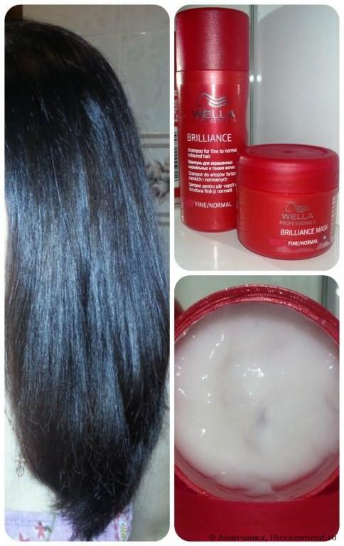 Крем-маска Wella Professionals BRILLIANCE для окрашенных нормальных и тонких волос фото