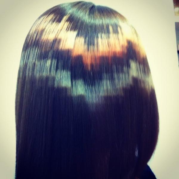 пиксельное окрашивание волос техника