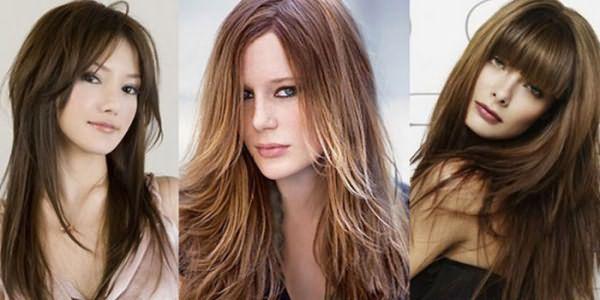 Девушки с объемными стрижками на длинных волосах