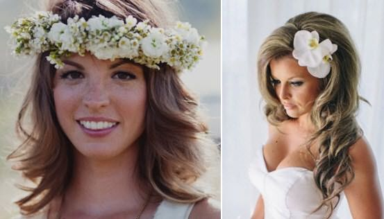 Завитые и украшенные цветочным ободком волосы