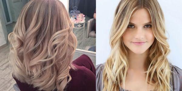 Балаяж на светло-русых волосах средней длины