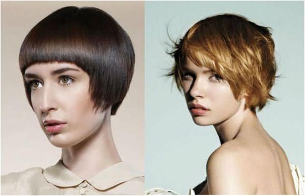 Короткая причёска с ровной и косой линией среза