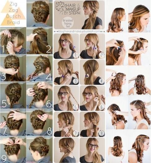 Три варианта поэтапного плетения кос