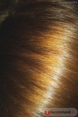 Фото волос после окрашивания волос краской SYOSS Карамельный блонд - фото со вспышкой