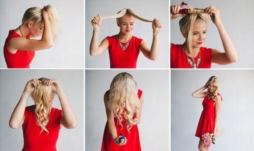 Как сделать локоны посредством конского хвоста