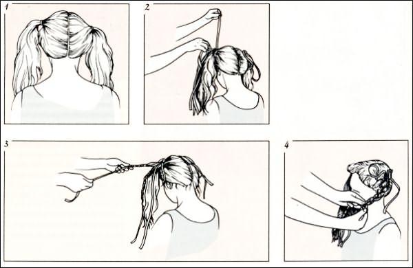 Плетение кос с лентами: схема