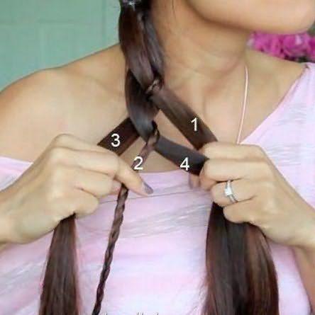 Аналогичным методом заплетаете косу до необходимой длины.